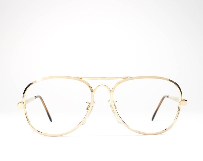 Vintage 80s Glasses   Aviator Glasses Frames   1980s Eyeglasses   Gold Eyeglass Frame - Jailan Gold