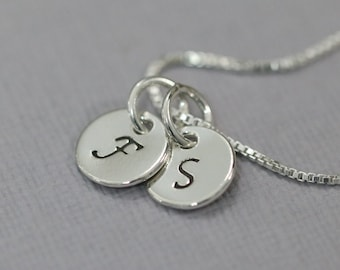 Personalized necklace sterling silver etsy double initial necklace double initial charm on sterling silver chain personalized necklace sterling mozeypictures Images