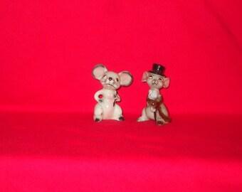 LOT Two Vintage Japan ADORABLE Mouse Mice Miniature Figurines
