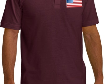 US Flag Pocket Print Mens Pique Polo Tee T-Shirt 3991-KP150
