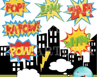 Superhero Text and Bubbles clipart comic book, Personal and Commercial Use / INSTANT DOWNLOAD