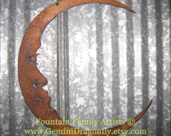 Rusty Crescent Moon / Man in the Moon Metal Garden Art / Recycled Metal Moon / Celestial Wall Art / Wall Art Moon