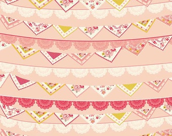 Riley Blake Fabric, Vintage Daydream fabric, Pink Banner fabric