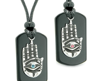 All Seeing Feeling Buddha Eye Hamsa Hand Love Couples Black Agate Tag Crystals Necklaces