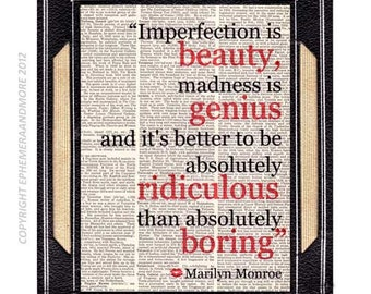 "MARILYN MONROE ""Imperfection is Beauty"" art print wall decor poster typography quote on vintage dictionary book page black red 8x10, 5x7"