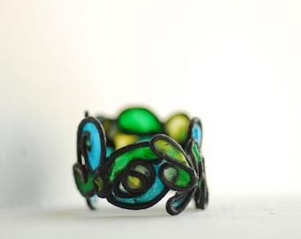 Sky, Clouds, Grass, and Sun Ring, Handmade Artisan Jewelry...