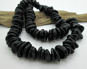 "Stunning Black Tourmaline Flat Nugget Beads, Flat Stone Nugget, 7-13mm (7.5""  loose)"