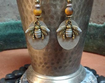Bee Earrings, Mixed Metal Jewelry, Antique Silver & Bronze Honey Bee w/ Frosted Tigers Eye Gemstone, Insect Jewelry