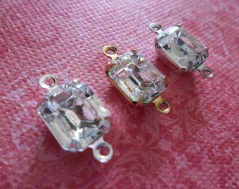 Crystal Clear Czech Glass Octagon Gems - 10X8mm Charms - Prong Settings Rhinestone Jewel Drops - Your Color Choice Metal Setting - Qty 2