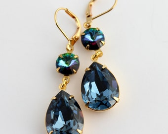 Swarovski Green Sphinx earrings, Swarovski earrings,  teardrop earrings, denim earring, dark blue earrings, blue wedding, blue and gold