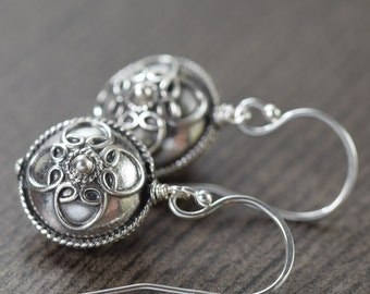 Bali earrings rounded disc sterling silver saucer earrings  by Katy Mims  gifts for her