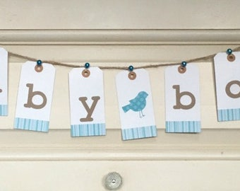 Baby Boy Bunting, baby shower banner, baby reveal, nursery decoration, baby reveal