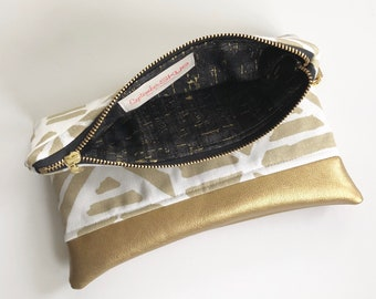 Ready to ship! Gold and white foldover clutch with gold faux leather