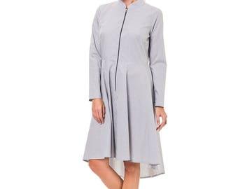 Circle dress, Fitted dress, Autumn Dress, Plaid dress, Knee length dress, Cotton dress, Zipper dress, Collar dress, Dress with sleeves