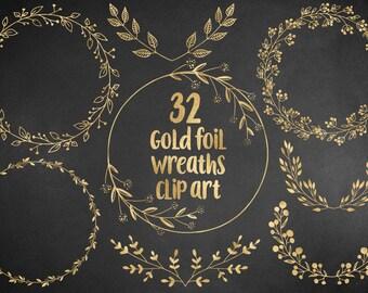 Gold wreaths clipart, floral, design elements, hand drawn overlay, wedding clipart, gold foil leaves, laurel, download