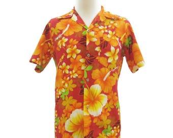 Vintage Hawaiian Shirt 70s Mens Barkcloth Orange Floral Loop Collar Royal Hawaiian S