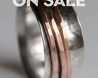 40% OFF SALE: Size 12 Silver & Copper Spinner Fidget Ring - Free Shipping