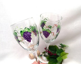 Purple grape hand painted set of two wine glasses free shipping