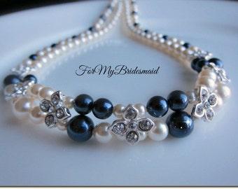 Double Layered Wedding Necklace, Pearls Rhinestone Flower Necklace, Two Strand Bridal Jewelry, Wedding Ivory Navy Blue Statement Jewelry