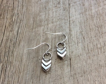 Silver Chevron Dangle Earrings, Silver Earrings, Chevron Earrings, Minimalist Earrings, Rustic Modern Jewelry, Free Shipping U.S.