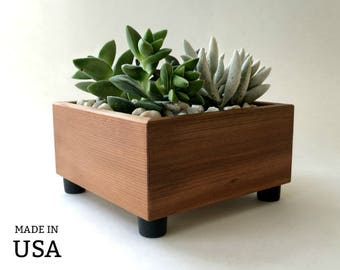 Succulent Planter Box, Square Planter, Succulent Garden, Centerpiece Planter, Reclaimed Wood, Modern Minimalist Home Decor, Gardener Gift