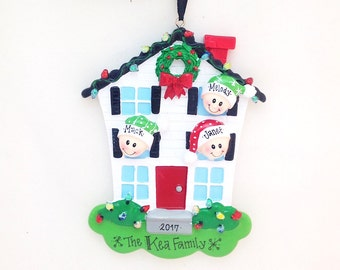 3 Family Happy Home Personalized Christmas Ornament / Personalized Family Ornament / Personalized Christmas Ornament