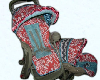 DeeLayna Coral Damask/Grey & White Chevron/Aqua Blue Minky Dot Stroller Cover