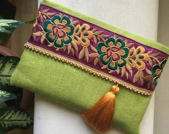 Green floral clutch