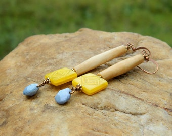 Tan Bone and Czech Bead Earrings