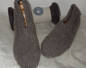 Man slippers 42/44 30% cashmere wool, handknit