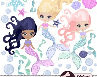 Digital Mermaid Clip Art, Printable Mermaid Download, Clipart Graphics, Images
