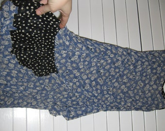 VINTAGE 1980s OOAK Unique See-Thru Hippie/Hipster Dress - Zelda Beachy Couture Blue & White Flowers Polka Dots Ruffles Ruched Above Knee S