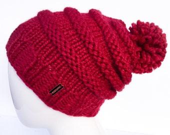 Knit Slouchy Hat with Pom Pom , Knit Hat Pom Pom, Women's Hat with Pom Pom, Knit Hat, Cranberry, Red, Christmas Gifts, Gifts under 30