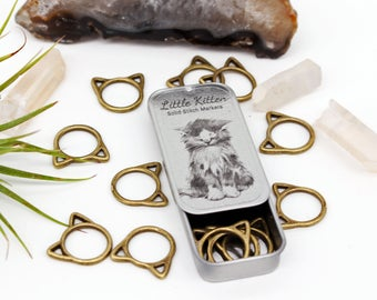 Snag Free Bronze Cat Stitch Markers with Tin, Little Kitten Stitch Markers, Gifts for Knitters, Knitting Stitch Markers, Knitting Tools, Cat