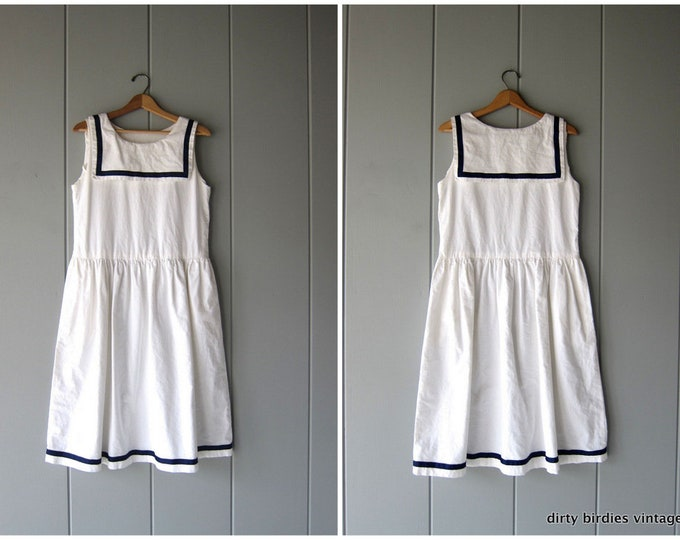White Cotton Sailor dress Blue & White Nautical Midi Dress Sleeveless Sundress Vintage 80s Womens Medium
