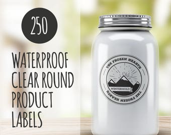 Custom Product Labels Clear- 250 Custom Stickers- Round Vinyl Stickers- Waterproof