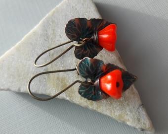 Verdigris Leaves And Glass Flower Earrings