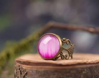 Dahlia ring, gift for women, gift for mom, birthday gift, anniversary gift, adjustable ring, statement ring, flower ring, flower jewelry