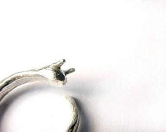 Adjustable Silver Slug Ring Creepy Crawly