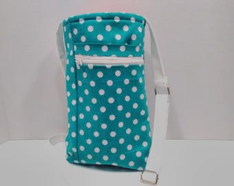 Beverage holder crossbody with adjustable straps phone pouch zipper pocket