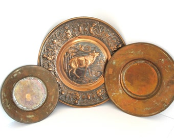 Copper Deer Plates Set 3 Hammered Wall Art Plates Rustic Decorative Boho Turkish Copper Stags Head & Copper Plate Set 3 Hanging Hammered Copper Plates Round Trays