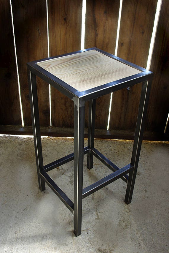 tabouret industriel chaise bar fer bois industrielle. Black Bedroom Furniture Sets. Home Design Ideas