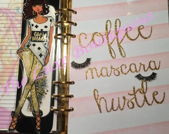 Coffee Mascara Hustle Pink/Gold Glitter Dashboard/Goal Digger Doll Page Marker- GM, MM, PM