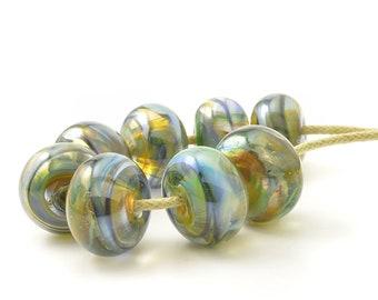 Petrol Green Lampwork Beads | Blue and Green Lampwork Glass Bead Set | Metallic Glass Beads | UK SRA | Artisan beads