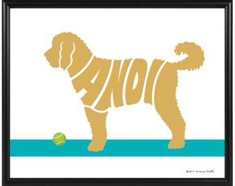 Personalized Goldendoodle Print, Framed Dog Silhouette Name Art, Goldendoodle Gift, Golden Decor