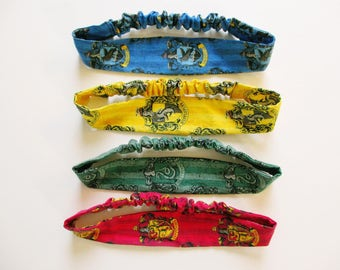 Wizard School Houses Print Cotton Elastic Headband