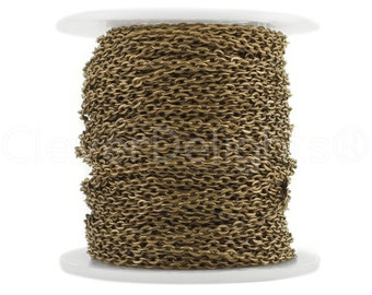100 Ft - 2x3mm Antique Bronze Cable Chain Spool - For Necklaces, Jewelry, Dog Tags, Pendants - 2mm x 3mm Oval Links - Bulk Rolo Chain Roll
