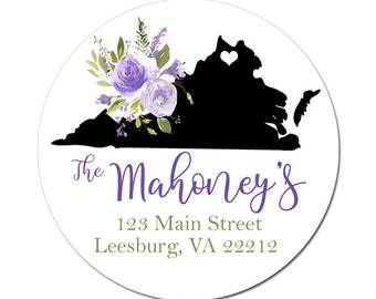 Custom State Address Labels / Purple Floral Bouquet / Return Address Labels / Personalized Stickers / Envelope Seals / Weddings / Virginia