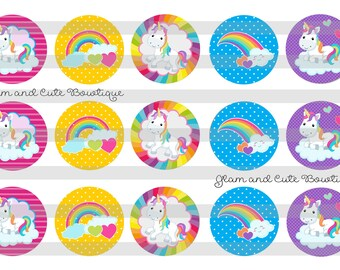 "Believe in Unicorns Rainbows INSTANT DOWNLOAD Bottle Cap Images 4x6 sheet 1"" circles"