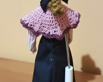 Crocheted pink and mauve granny shawl miniature for dollhouse 1:12
